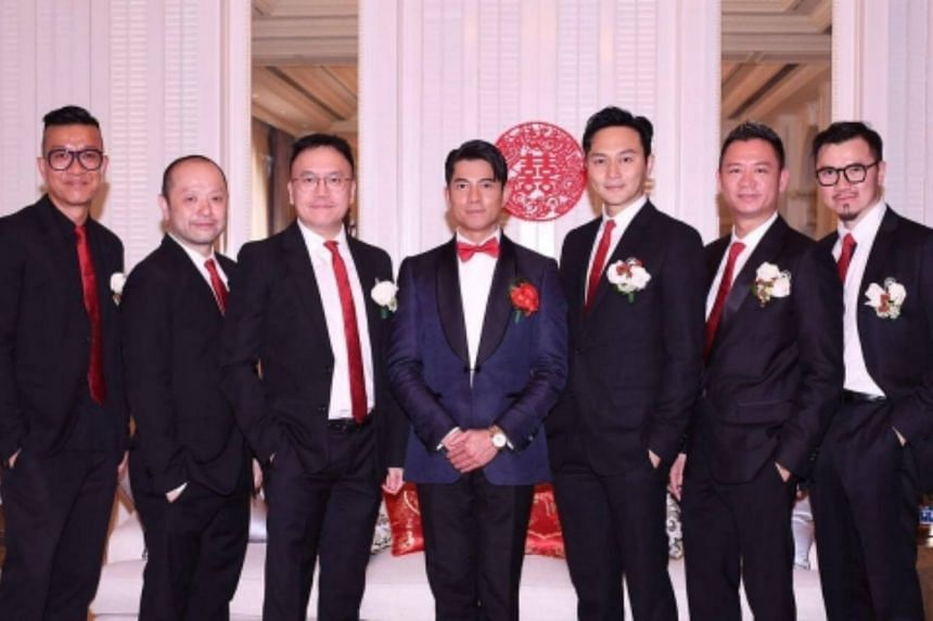 In the evening, Kwok released to the media photos of himself and his groomsmen, including Cheung, Wong and Sham, the husband of former actress Chingmy Yau.