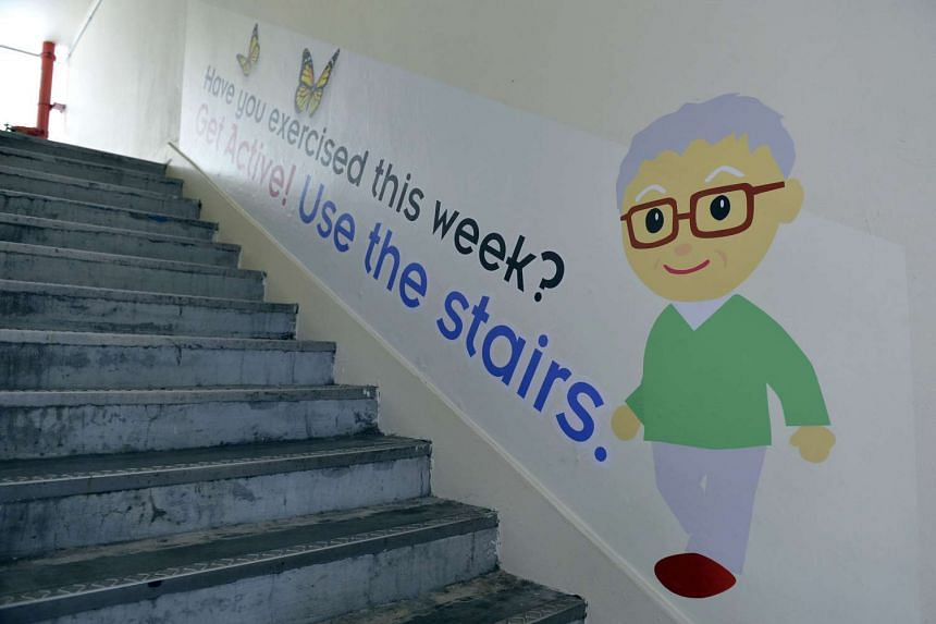 One of the signs put up in Bukit Batok East encouraging residents to exercise by using the stairs.