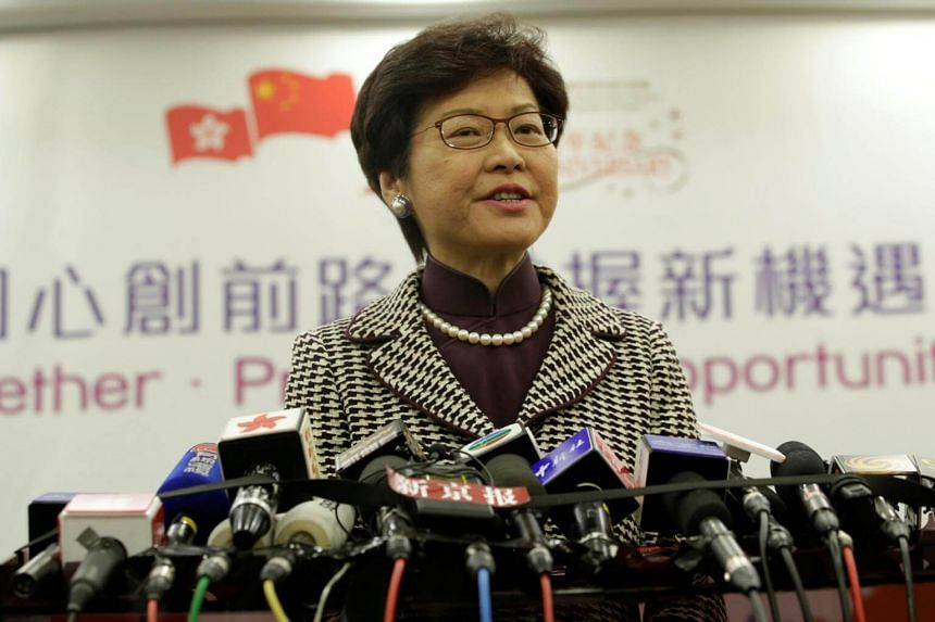 Hong Kong leader-elect Carrie Lam at a news conference in Beijing, China on April 11, 2017.