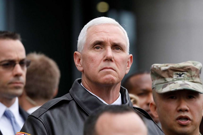 US Vice-President Mike Pence visits the truce village of Panmunjom, South Korea, on April 17, 2017.