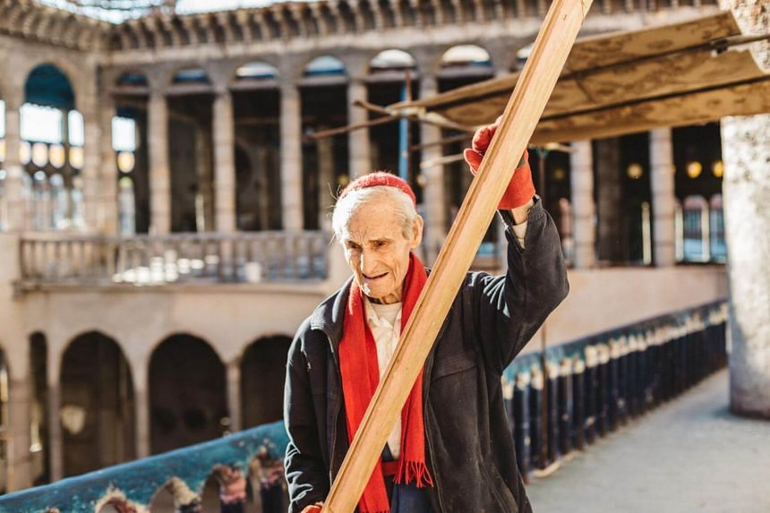 Justo Gallego, 91, at work on the cathedral he is building in Mejorada del Campo, Spain, on March 15, 2017.