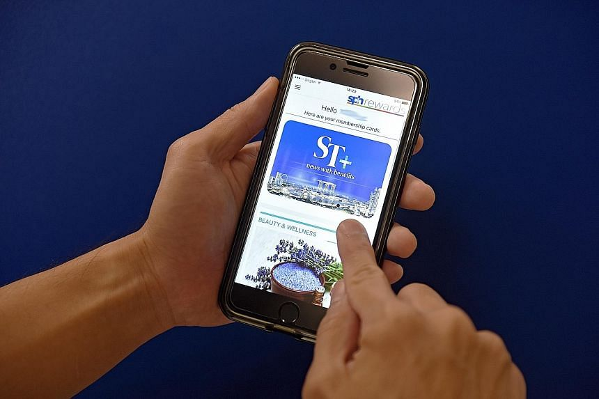 Users can download the SPH Rewards app, log in and flash The ST+ e-cards to enjoy benefits from various partners.