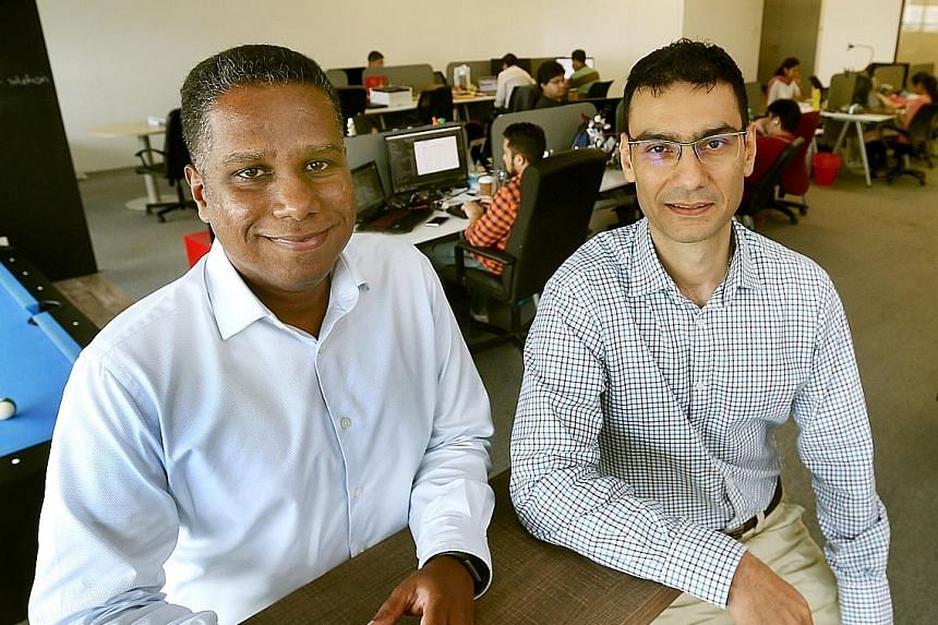 Mr Biju K. (left) and Mr Vikram Mengi co-founded Latize in 2009 and launched Ulysses, the firm's key data platform in 2013. The company's main customers are government agencies and financial and education services, and it is investing in geographical