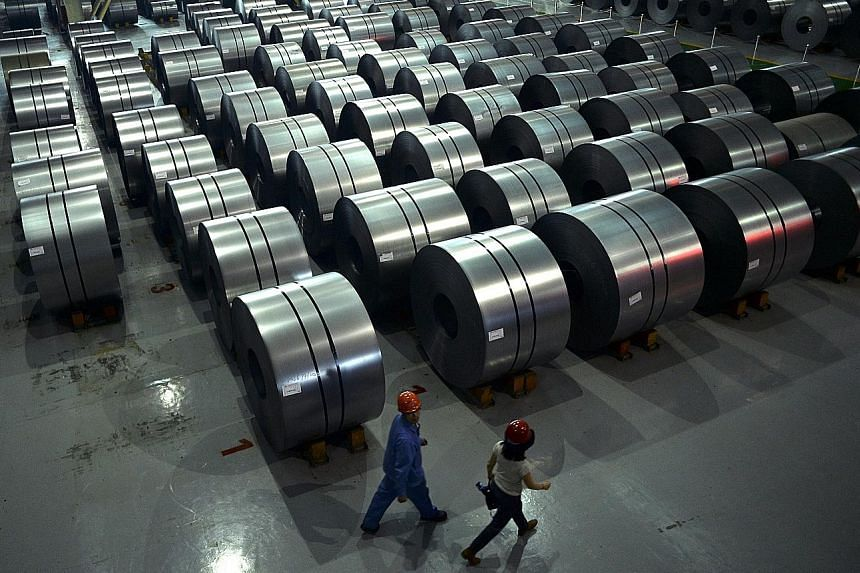 A steel plant in Hebei. China's first-quarter expansion was the fastest since the third quarter of 2015, with March data showing factory output and exports, among others, grew faster than expected.