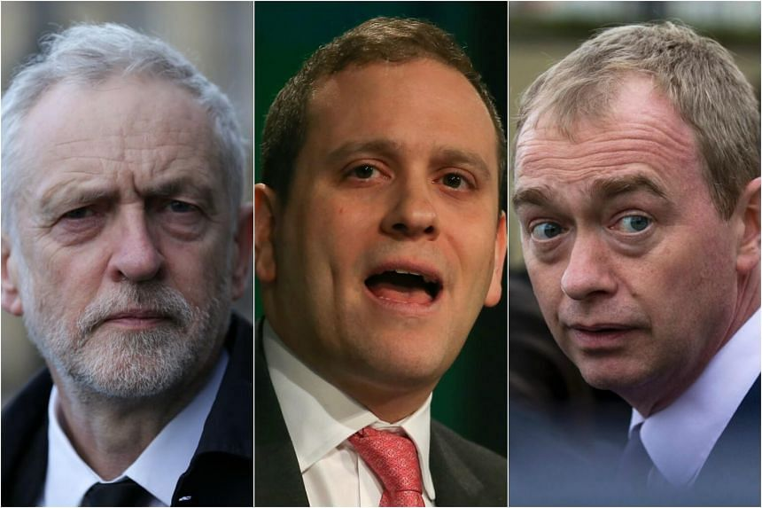 (From left) Jeremy Corbyn, leader of opposition Labour Party; Adam Marshall, director general of the British Chamber of Commerce and Tim Farron, leader of opposition Liberal Democrats.
