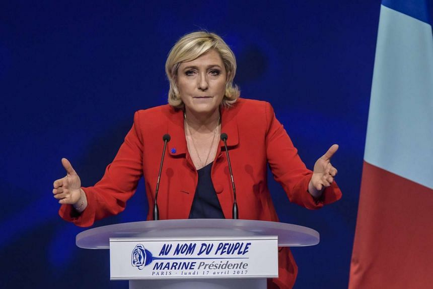 French National Front political party leader and candidate for French 2017 presidential election, Marine Le Pen, delivering a speech during an election campaign rally in Paris, France, on April 17, 2017.