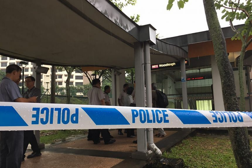 A police cordon is seen outside Woodleigh station, after a suspicious substance was found at the station, on April 18, 2017.