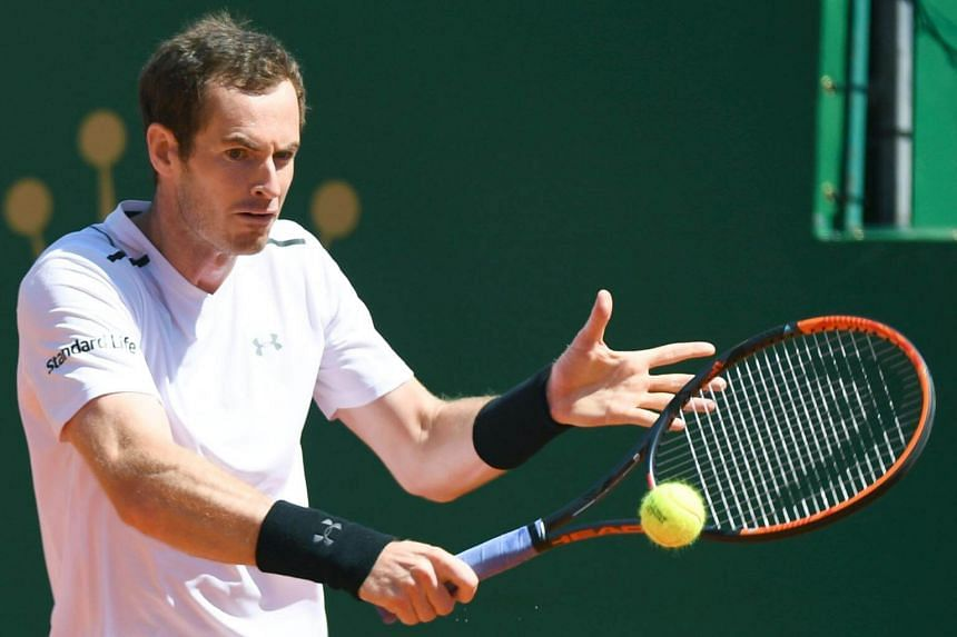 Britain's Andy Murray hits a return to Luxembourg's Gilles Muller during their Monte Carlo Masters match.