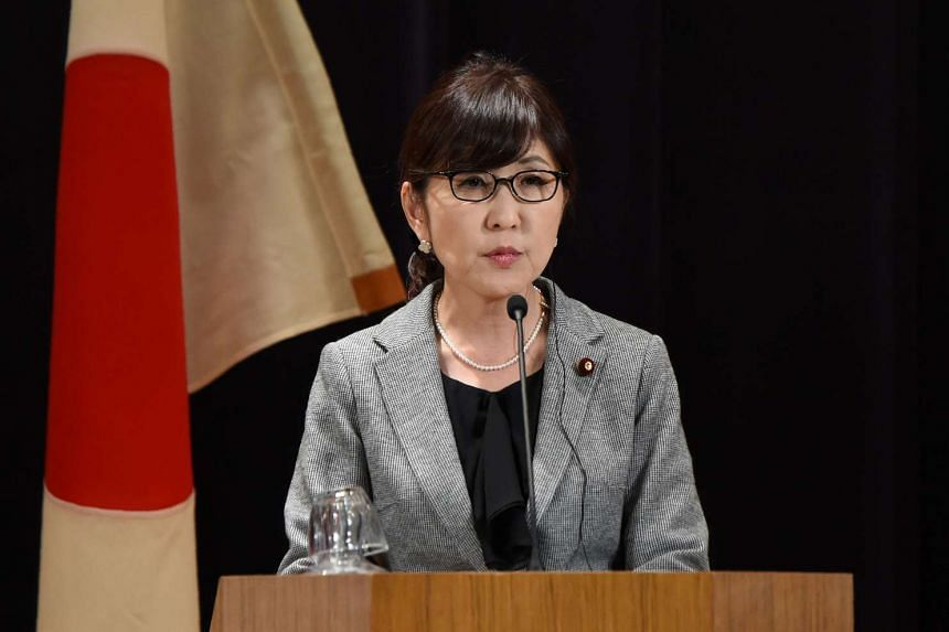 Japanese Defence Minister Tomomi Inada speaking at a joint press conference with US Defence Secretary Jim Mattis (not pictured) at the defence ministry in Tokyo on Feb 4, 2017.