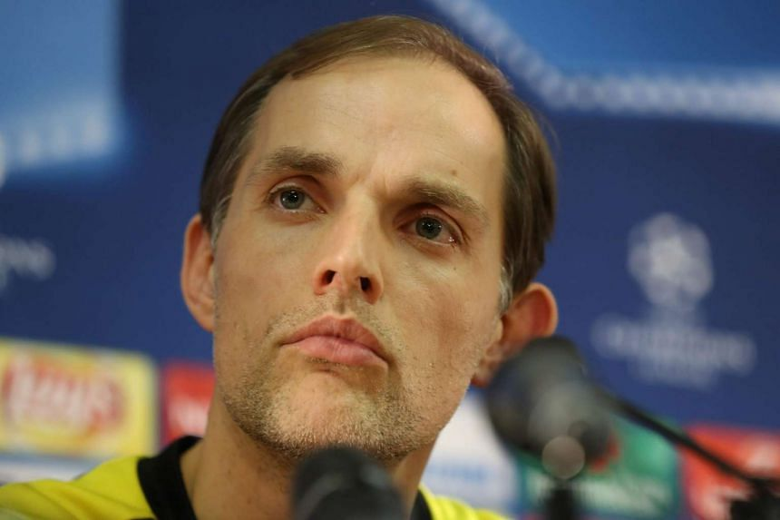 Dortmund coach Thomas Tuchel gives a press conference on the eve of the match in Monaco.