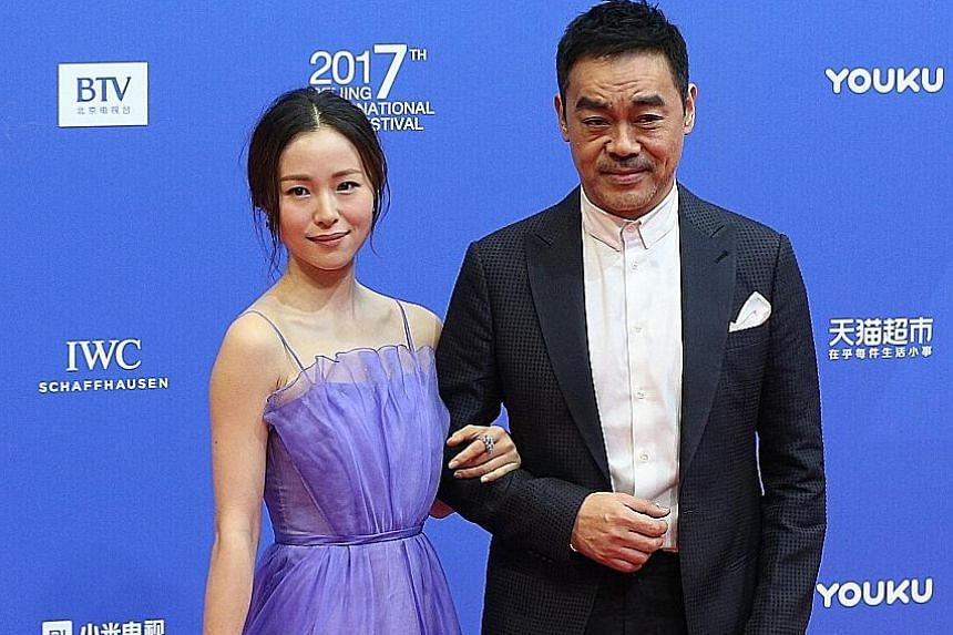 Monkey King 3: Kingdom Of Women's co-stars Aaron Kwok and Chiling Lin on the red carpet of the Beijing International Film Festival on Sunday. Other celebrities at the event included Chinese actress Jiang Yiyan and Hong Kong actor Sean Lau Ching Wan (both