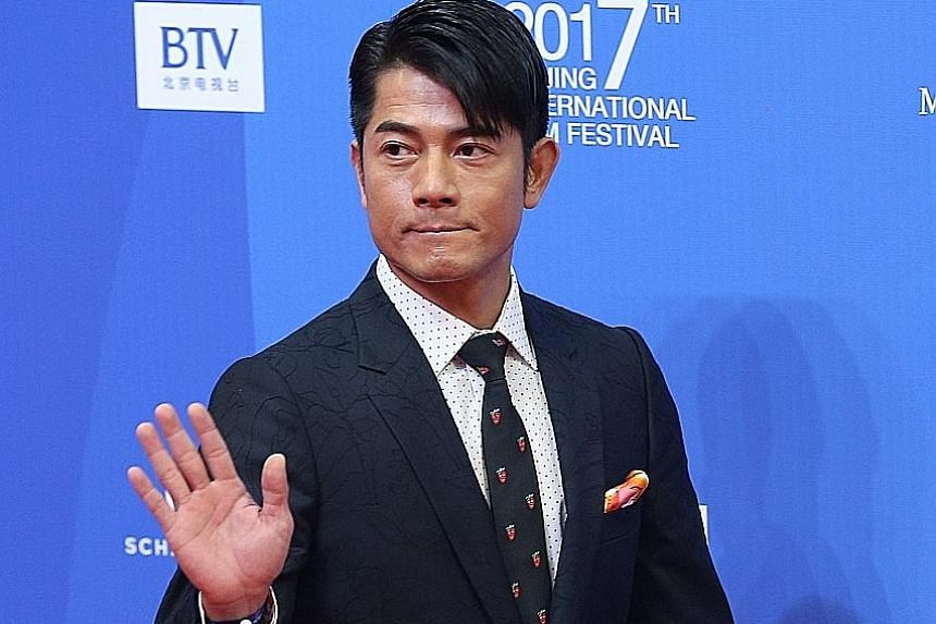 Monkey King 3: Kingdom Of Women's co-stars Aaron Kwok (above) and Chiling Lin on the red carpet of the Beijing International Film Festival on Sunday. Other celebrities at the event included Chinese actress Jiang Yiyan and Hong Kong actor Sean Lau Ching Wa