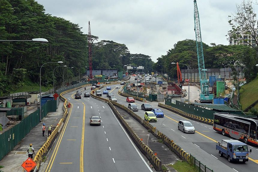 Construction work just outside Hume Park 1 condo in Upper Bukit Timah Road.