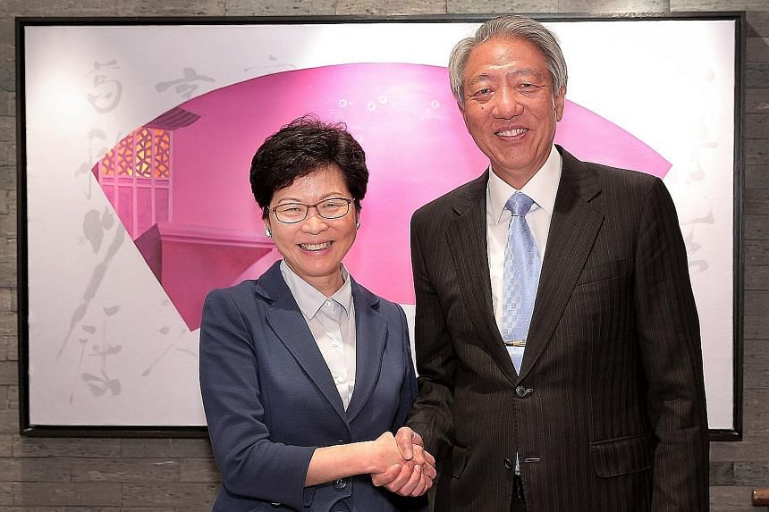 Deputy Prime Minister Teo Chee Hean was hosted to lunch by Hong Kong's Chief Executive-elect Carrie Lam yesterday. Mr Teo, who is on a two-day visit to the city, congratulated Mrs Lam on her recent electoral success, and they exchanged views on devel