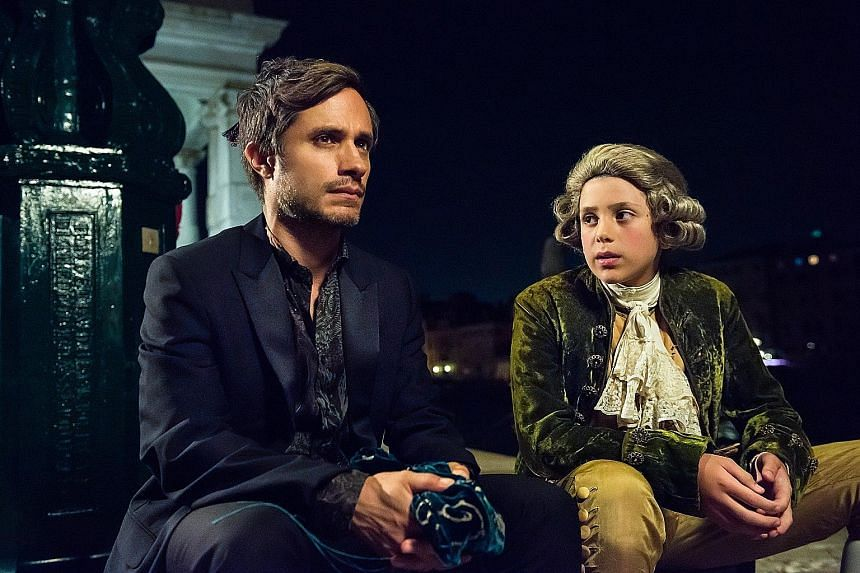 Mozart In The Jungle stars Gael Garcia Bernal as an eccentric conductor who has imaginary conversations with a young Mozart (Lorenzo Zingone, right), from whom he draws inspiration.