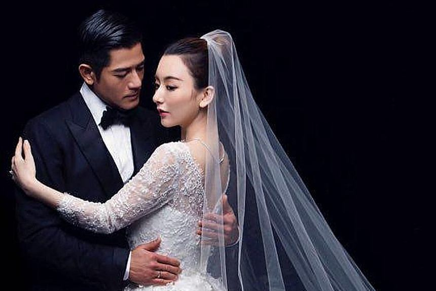 Aaron Kwok was in a Tom Ford suit, while Moka Fang wore a Georges Hobeika gown.