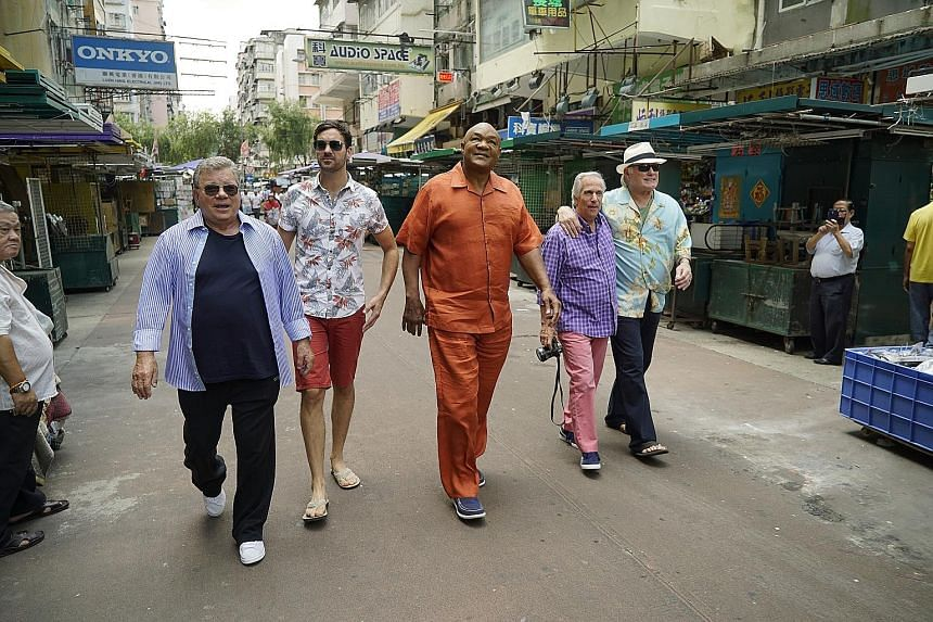 Reality TV series Better Late Than Never stars (from left) William Shatner, Jeff Dye, George Foreman, Henry Winkler and Terry Bradshaw in Hong Kong.