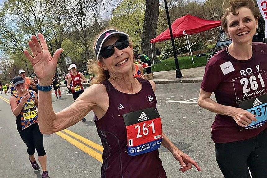 Kathrine Switzer going strong during the Boston Marathon on Monday, 50 years after she became the first woman to complete the race.