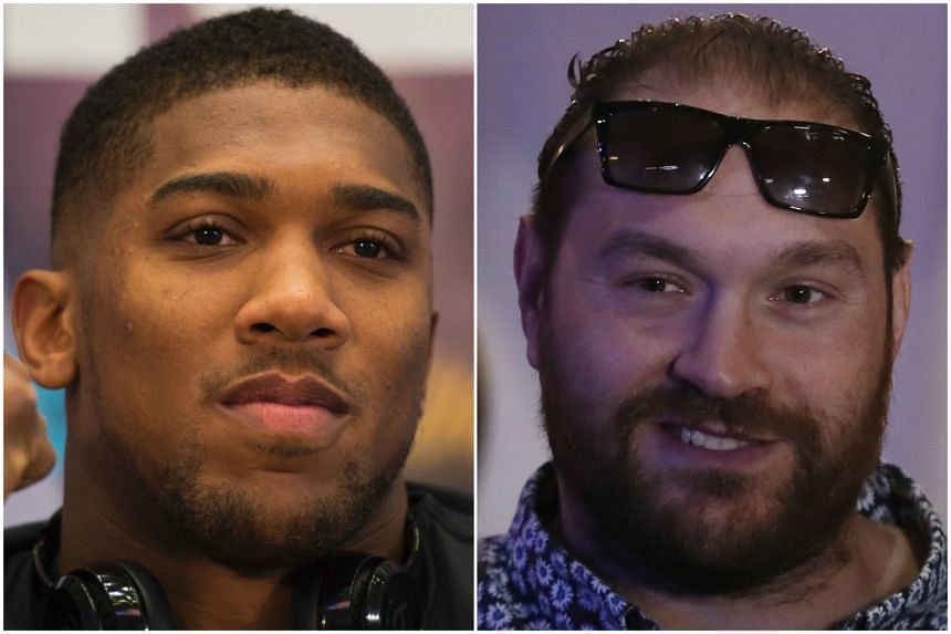 Anthony Joshua (left) and Tyson Fury exchanged jibes on Twitter on Tuesday (April 18).