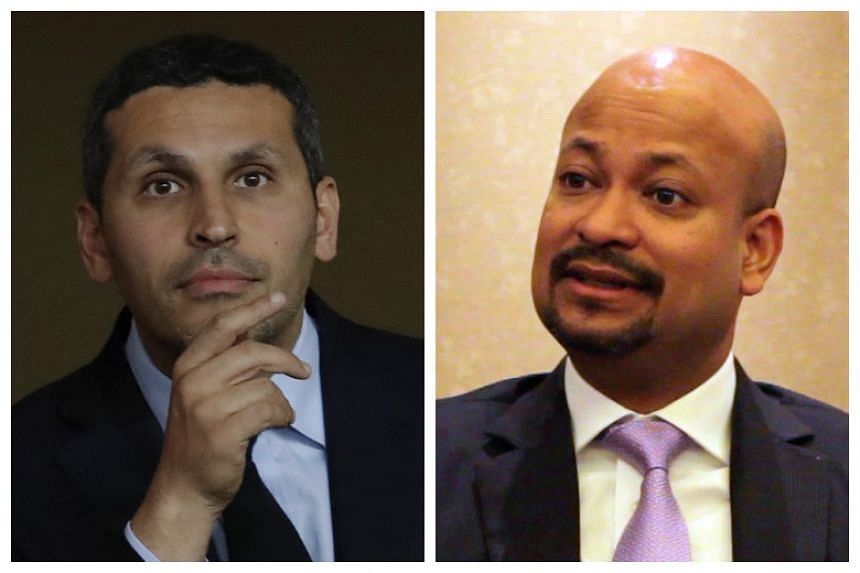 Khaldoon Al- Mubarak (left), managing director of Abu Dhabi's giant sovereign wealth fund Mubadala Development Company, and Arul Kanda (right), group executive director of 1MDB.
