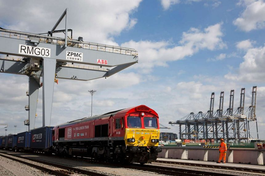 """A freight train preparing to depart DP World London Gateway's rail freight depot on April 10, 2017, to head along the modern-day """"Silk Road"""" trade route to China."""