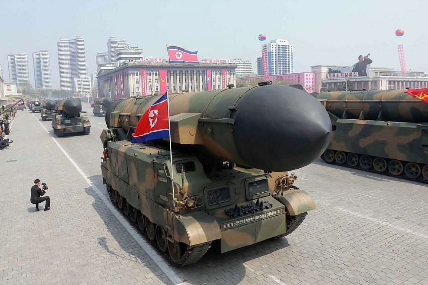 A North Korean missile on parade to mark the 105th anniversary of the birth of late leader Kim Il-Sung.