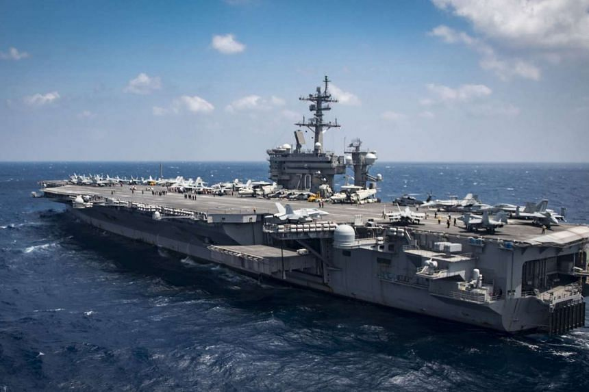 Aircraft carrier USS Carl Vinson (CVN 70) transiting the South China Sea on March 2, 2017.