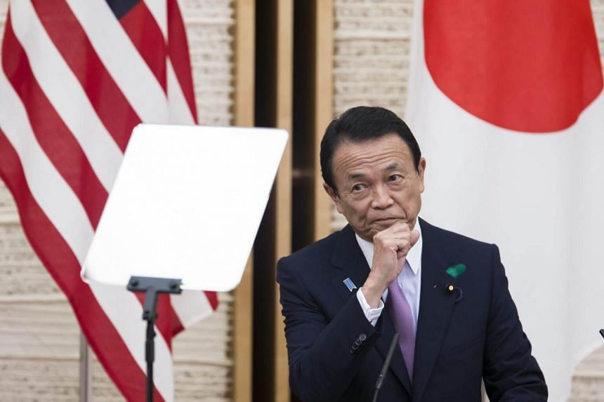 Deputy Prime Minister Taro Aso at a news conference after a US-Japan economic dialogue in Tokyo on April 18.
