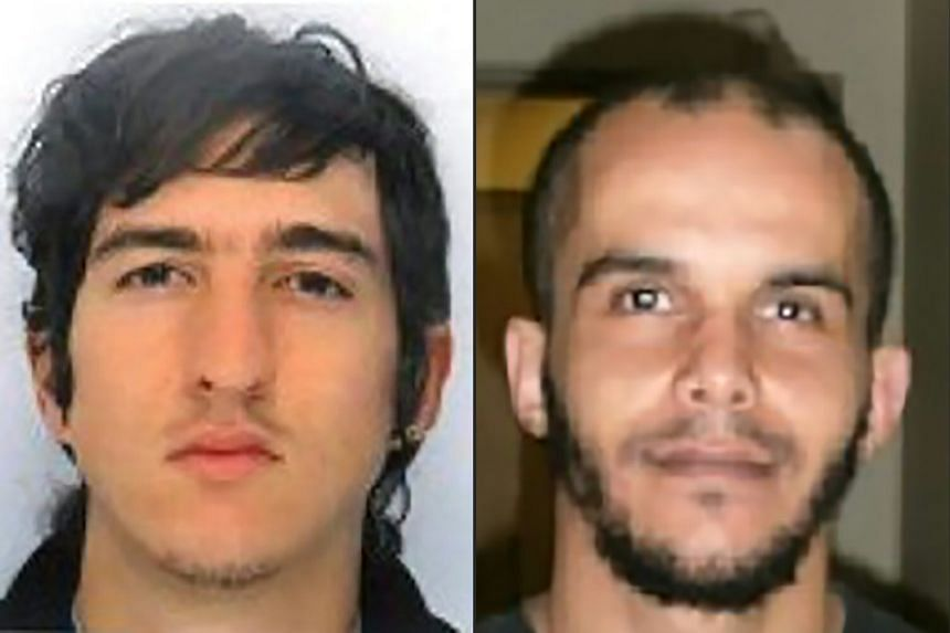A combination photo shows Clement Baur (left) and Mahiedine Merabet, arrested in Marseille, southern France, on April 18, 2017.