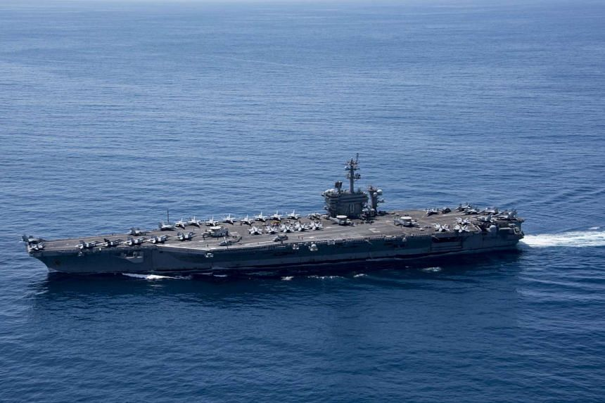 The aircraft carrier USS Carl Vinson (CVN 70) transiting the Indian Ocean, on April 15, 2017.