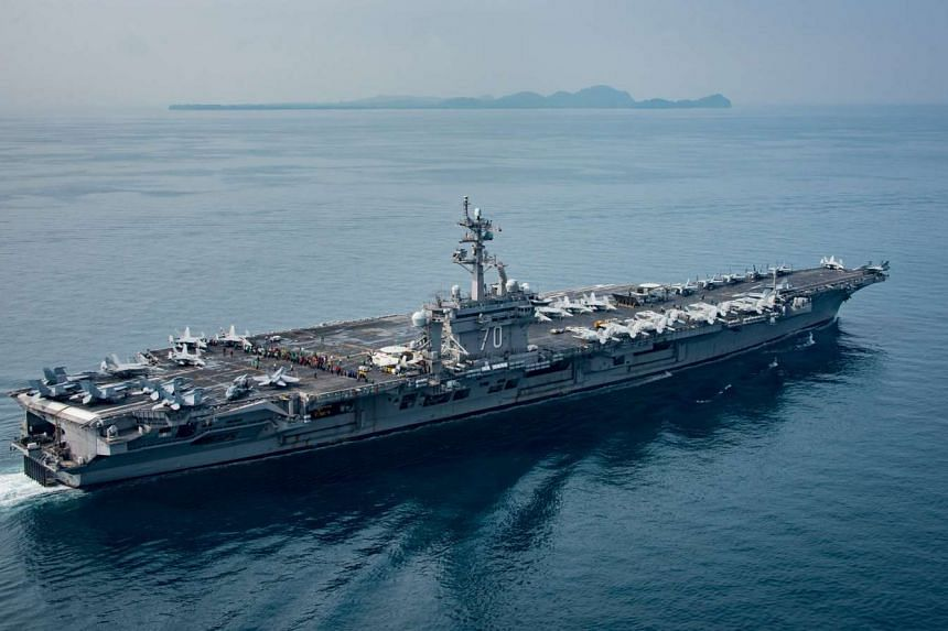 United States aircraft carrier USS Carl Vinson transiting the Sunda Strait, Indonesia, on April 15, 2017.