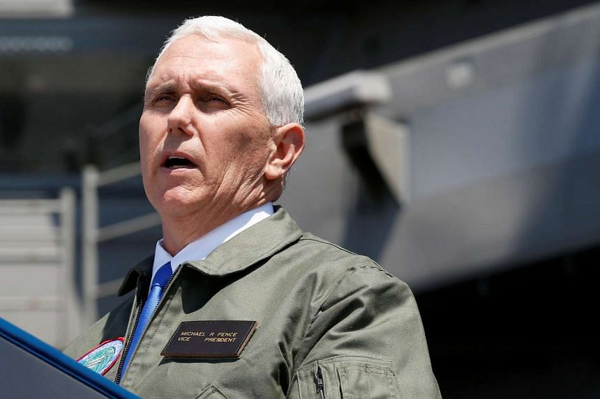 Pence delivers a speech to US and Japanese service members on the USS Ronald Reagan in Japan, April 19, 2017.