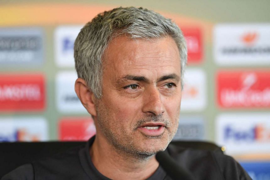 Manchester United manager Jose Mourinho speaking at a press conference on April 19, 2017.