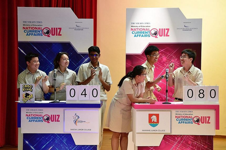 Reacting to their Big Quiz fourth round win are Nanyang Junior College team members (from left) Cho Hui Wen, Isaiah Chi and Lionel Lim, all 17, as Innova Junior College team members (from left) Justin Indra, 18, Rachel Angelique Galistan, 17, and T.