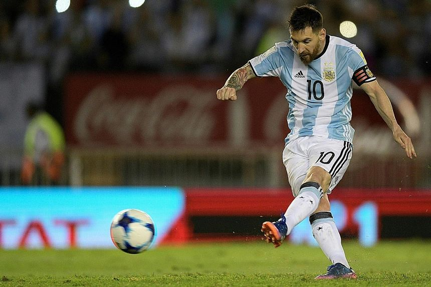 Lionel Messi scoring in a World Cup qualifier last month. His current ban from competitive matches does not cover friendlies.