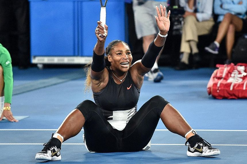 Serena Williams celebrating her Australian Open victory in January. She hinted yesterday that she is 20 weeks pregnant, meaning she was with child when she won at Melbourne Park.
