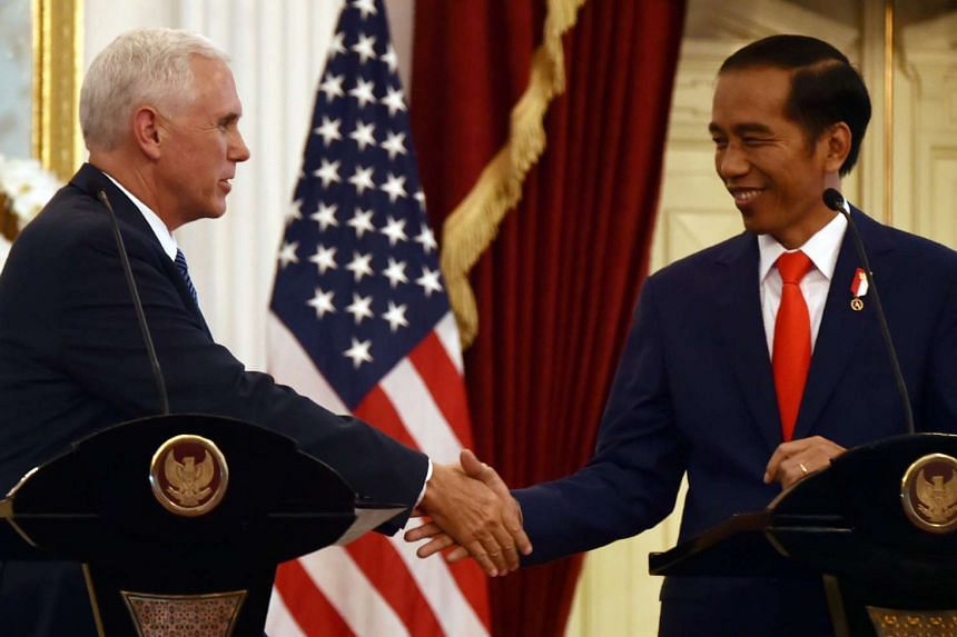 Indonesian President Joko Widodo and US Vice-President Mike Pence held talks in Jakarta on April 20, 2017.