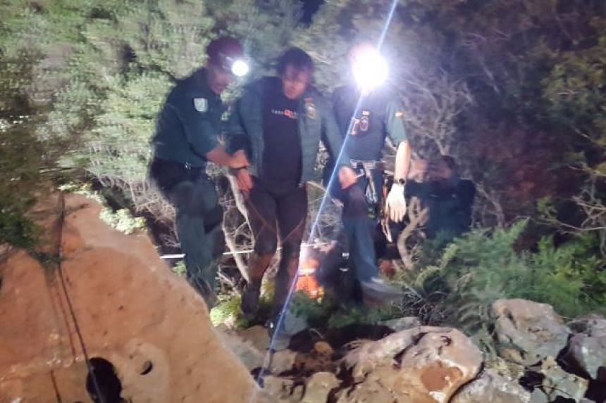 Spanish diver Xisco Garcia rescued after 60 hours in a small underground cave in Mallorca.