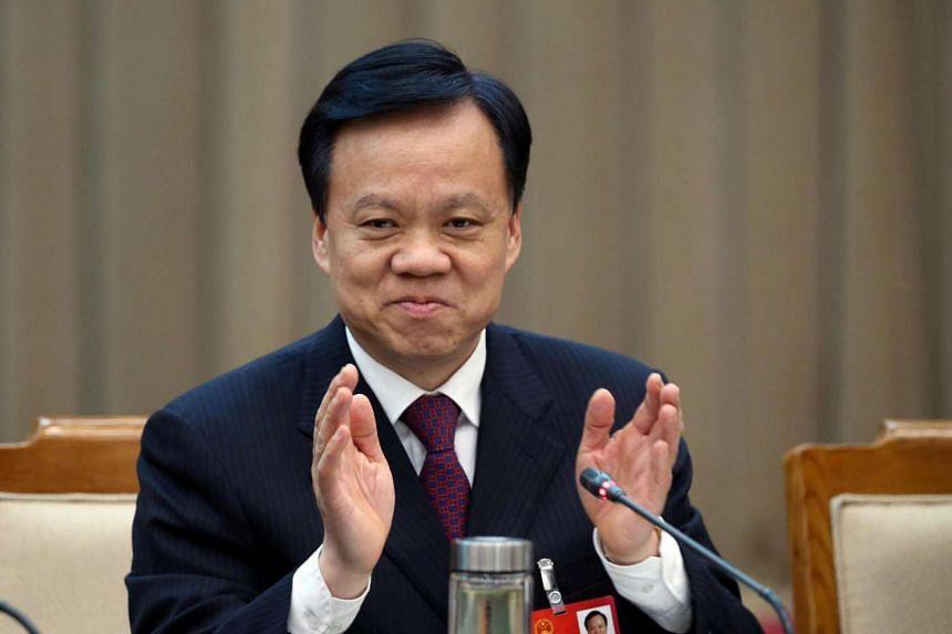 Guizhou Communist Party boss Chen Miner attends a meeting in Beijing on March 6, 2016.