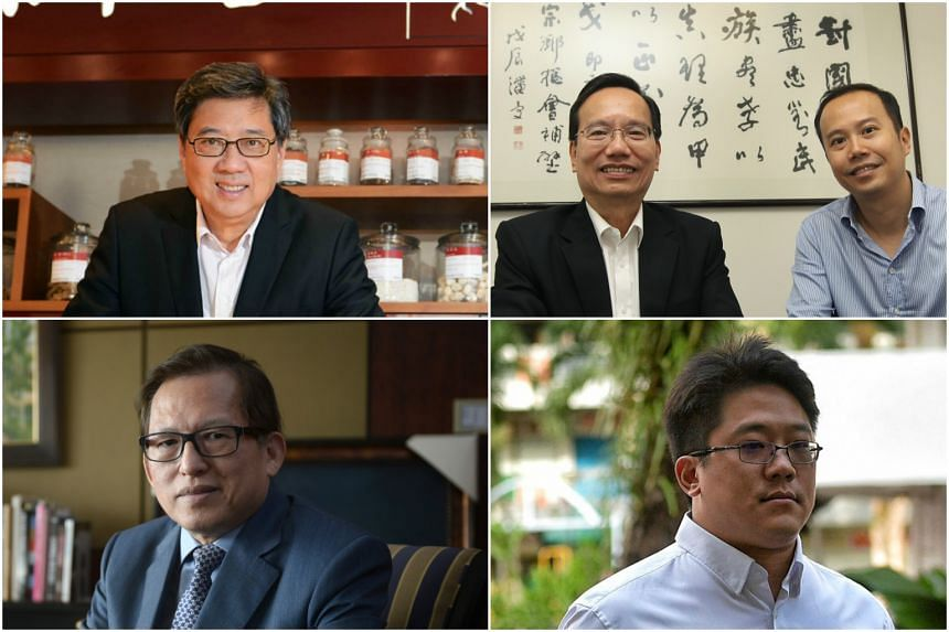 (Clockwise, from top left) Mr Richard Eu, group CEO of Eu Yan Sang International, Mr Patrick Lee and his son Mark who helm Sing Lun Investments, Mr Ong Jenn, grandson of the founder of Metro, and City Developments' chairman Kwek Leng Beng.