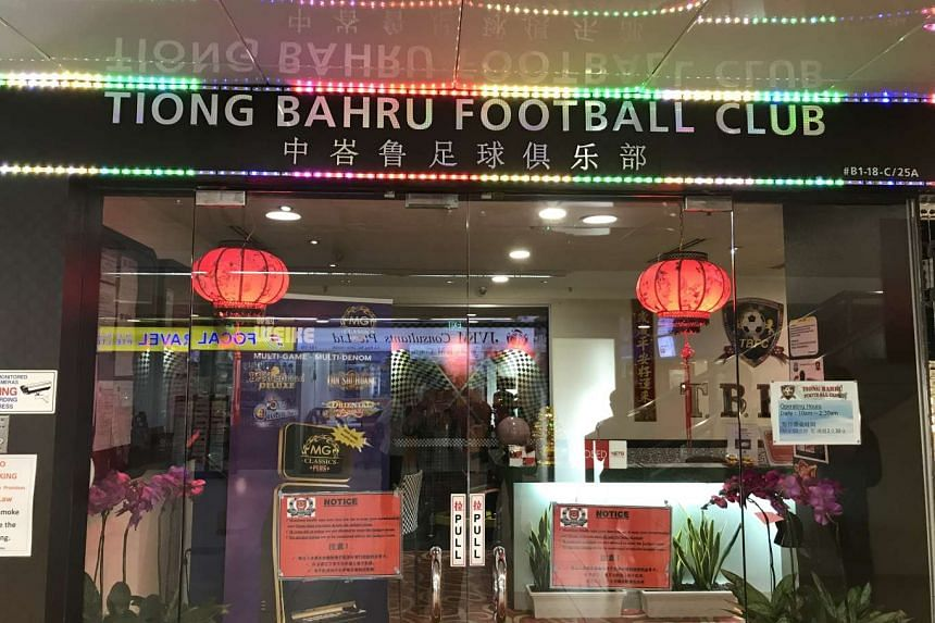 The locked front door of the Tiong Bahru Footbcall Club clubhouse on April 20.