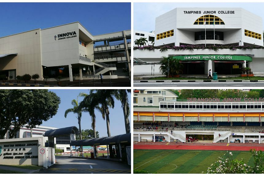 (Clockwise from top left) Innova Junior College, Tampines Junior College, Serangoon Junior College and Jurong Junior College.