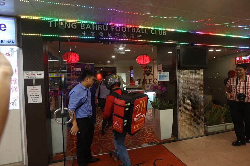 Police investigators were seen outside the clubhouse of Tiong Bahru FC.