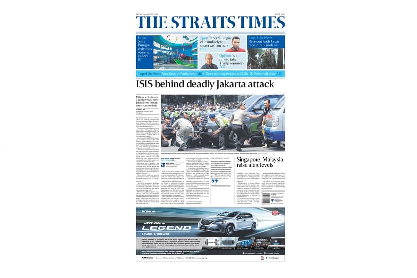 ST's coverage of Indonesia's first major attack in seven years was deemed best newspaper breaking news article.