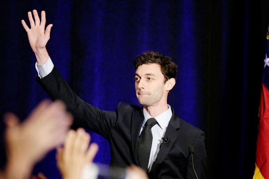 Congressional candidate Jon Ossoff at a post-election party in Sandy Springs, Georgia, on Tuesday. He finished first in a crowded field of candidates, but fell short of the 50 per cent of votes needed to win. The run-off election will be on June 20. Pundi