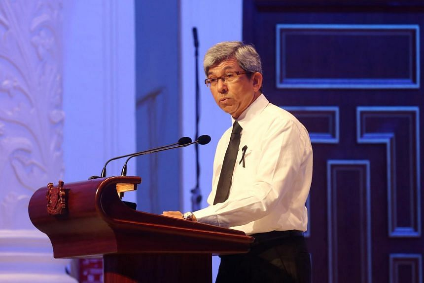 Minister for Communications and Information Yaacob Ibrahim delivering his eulogy at the Memorial service for the late Mr Othman Wok at the Victoria Theatre and Concert Hall, on April 19, 2017.