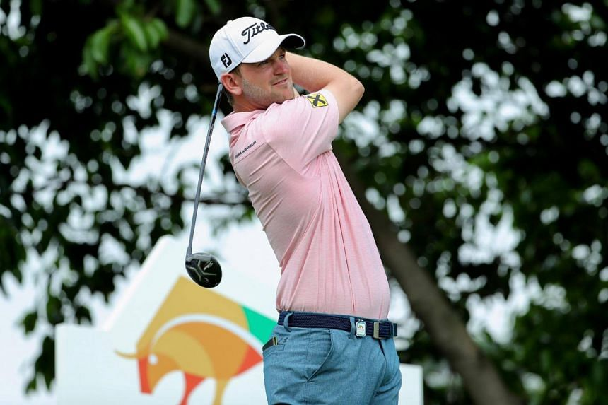 Bernd Wiesberger of Austria plays a shot at the Shenzhen International golf tournament in Shenzhen, in China's southern Guangdong province on April 21, 2017.