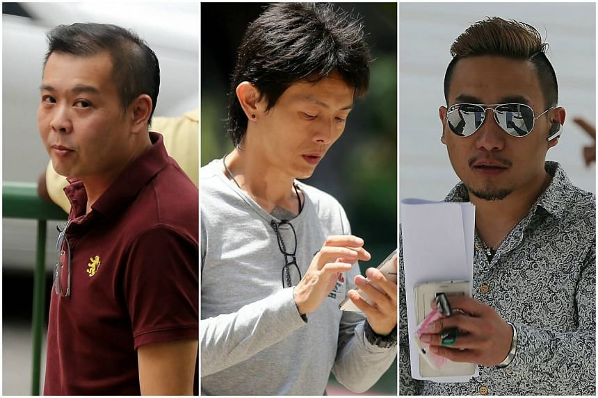 (from left to right) Andra Chew Keng Leng, Lim Boon Tiong, and David Tan, had pleaded guilty to being members of an unlawful assembly whose object was to harass a cashier at a Chinese soup stall.