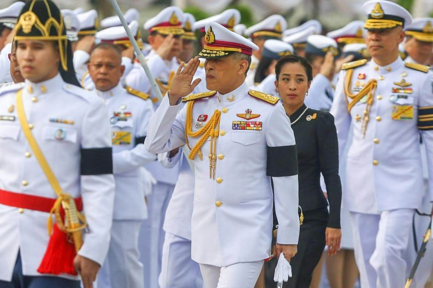 Thailand's King Maha Vajiralongkorn Bodindradebayavarangkun salutes as he arrives at the monument of King Rama I after signing a new constitution in Bangkok, Thailand on April 6, 2017.