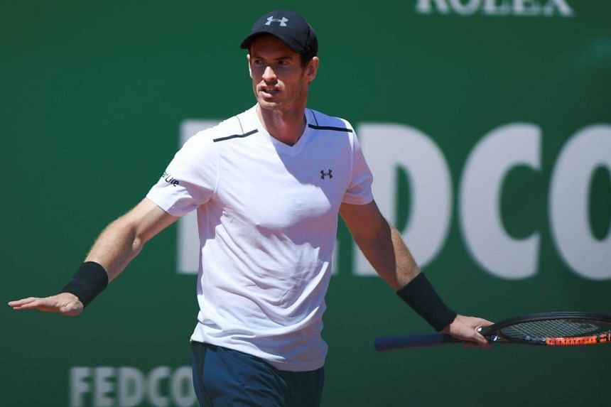 Britain's Andy Murray reacts after being defeated by Spain's Albert Ramos-Vinolas at the end of their Monte-Carlo ATP Masters Series tennis tournament on April 20, 2017 in Monaco.